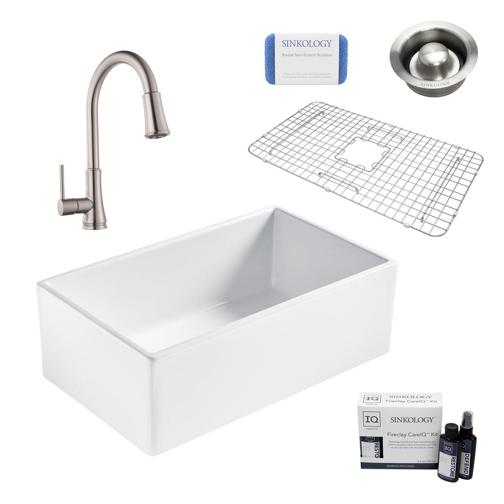 SINKOLOGY Bradstreet II All-in-One Farmhouse Fireclay 30 in. Single Bowl Kitchen Sink with Stainless Faucet and Disposal Drain