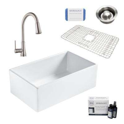 Bradstreet II All-in-One Farmhouse Fireclay 30 in. Single Bowl Kitchen Sink with Stainless Faucet and Disposal Drain