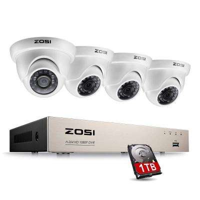 8-Channel 1080p 1TB Hard Drive DVR Security Camera System with 4 Wired Dome Cameras
