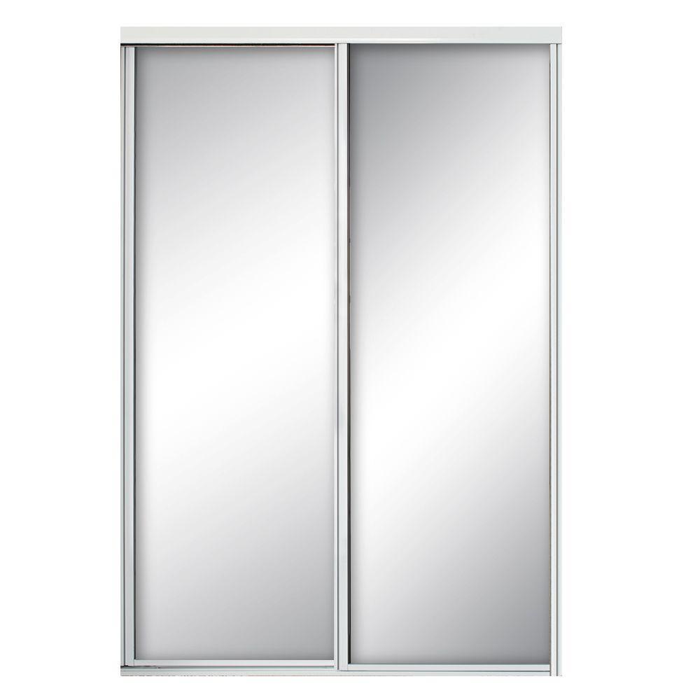 Contractors Wardrobe 60 in. x 96 in. Concord White Aluminum Frame Mirrored Interior Sliding Door