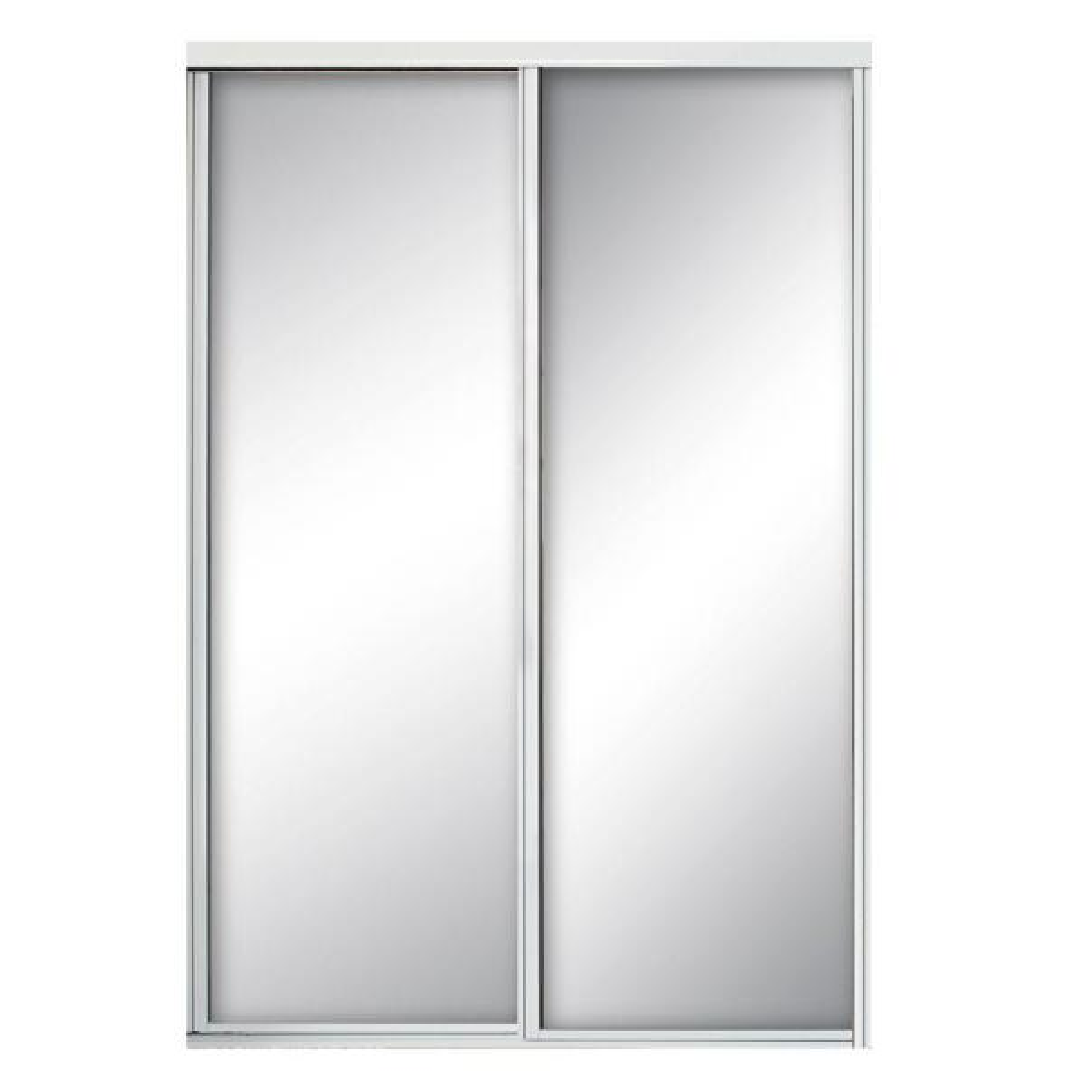 72 in. x 81 in. Concord White Aluminum Frame Mirrored Interior Sliding Door
