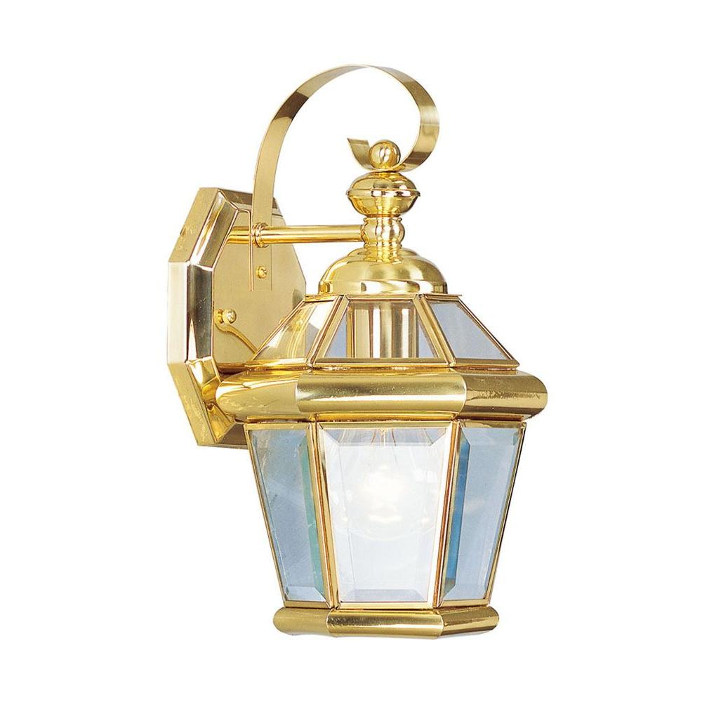 Livex lighting wall mount 1 light polished brass outdoor incandescent lantern 2061 02 the home for Exterior wall mounted lanterns