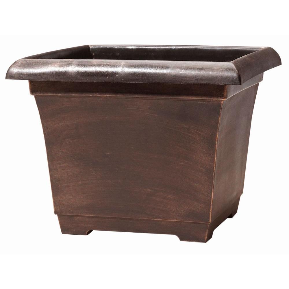 14.9 inch Warm Copper Leonardo Square Plastic Planter by