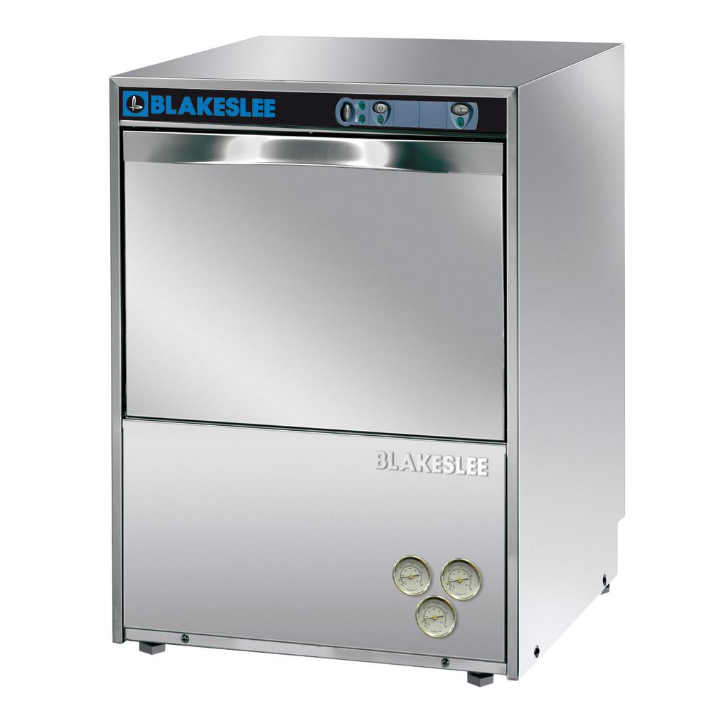 Blakeslee Front Control High Temperature Commercial Dishwasher in Stainless Steel, 60 dBA Blakeslee glass and dishwashers are ideal for bars, pubs, restaurants and hotels. These under-counter beautifully designed machines with a newlyre-designed control panel, feature a wide loading capacity granting the highest performance at a reasonable price. The Blakeslee under counter ware washers will give you years of service. Color: Stainless.