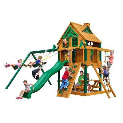 Chateau Treehouse with Fort Add-On and Timber Shield Cedar Swing Set