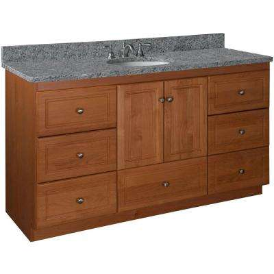 Ultraline 60 in. W x 21 in. D x 34.5 in. H Vanity for Center Basin Cabinet Only in Medium Alder