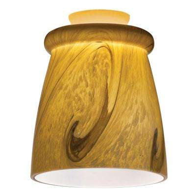 Caramel Mocha Gold LED Mini Pendant with Swirl Top Rib Shade