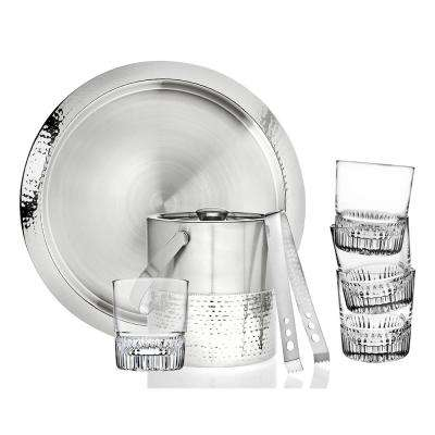 7-Piece Hammered Stainless Glass Bar Set
