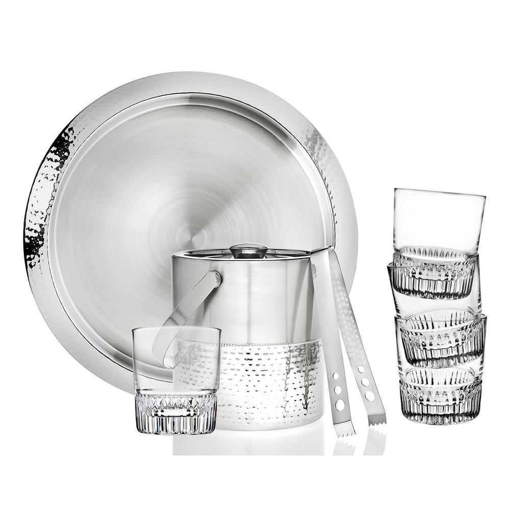 7-Piece Hammered Stainless Glass Bar Set