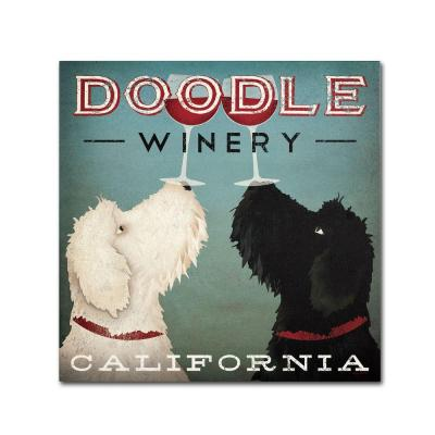 """35 in. x 35 in. """"Doodle Wine"""" by Ryan Fowler Printed Canvas Wall Art"""
