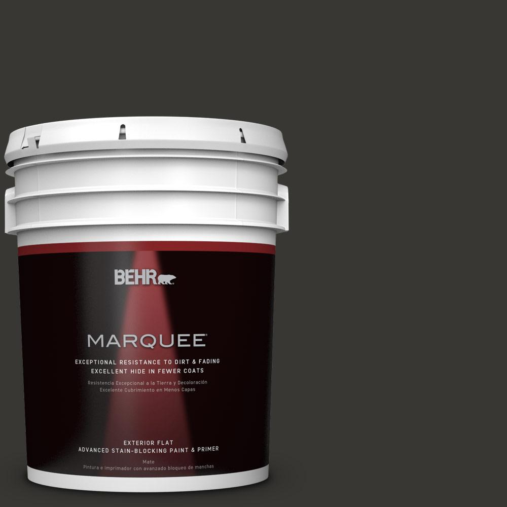 Home Depot Exterior Paint: BEHR MARQUEE 5 Gal. Black Matte Exterior Paint And Primer