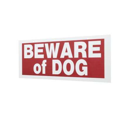 6 in. x 15 in. Plastic Beware Of Dog Sign