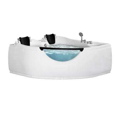 60 in. Center Drain Corner Alcove Whirlpool Bathtub in White