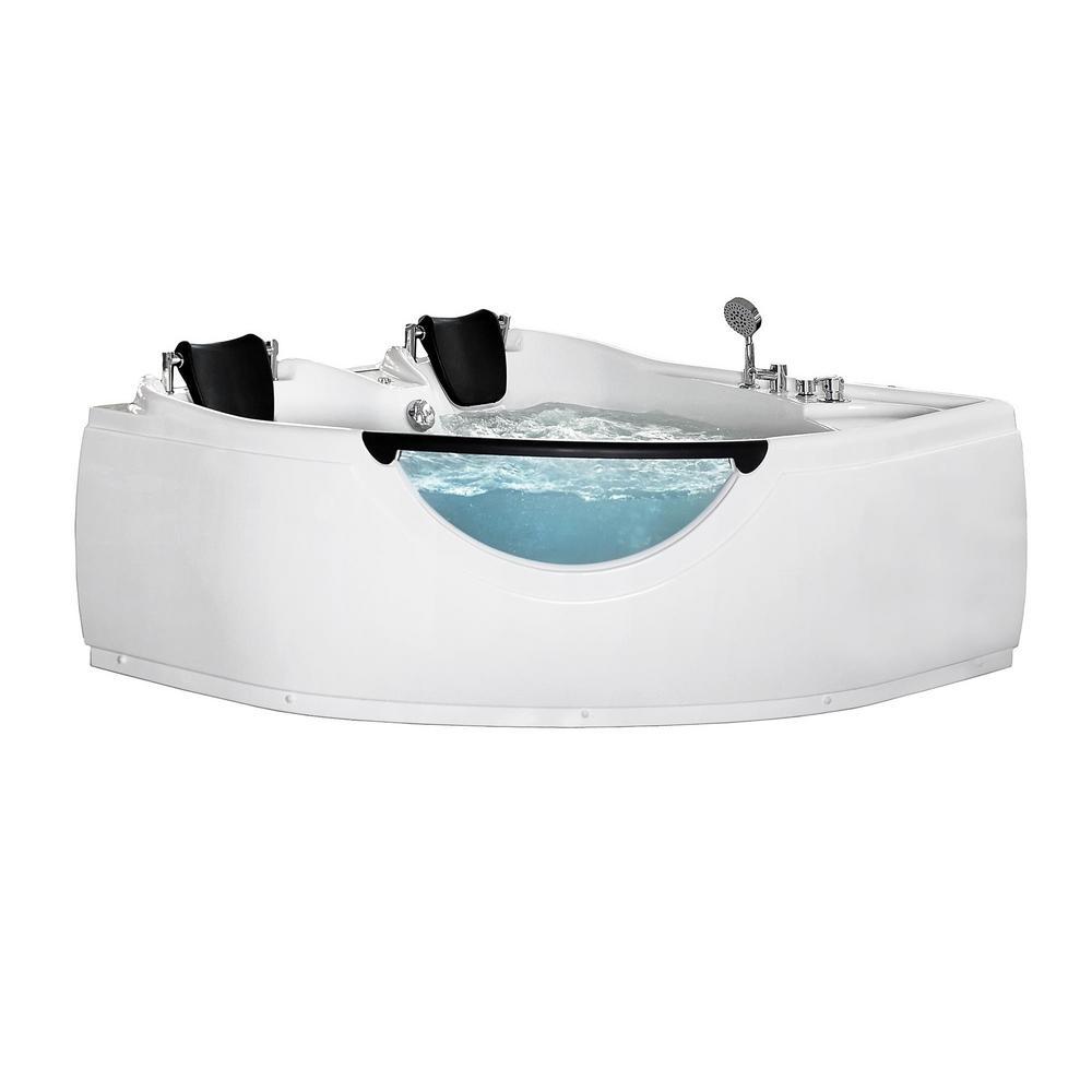 Center Drain Corner Alcove Whirlpool Bathtub In White