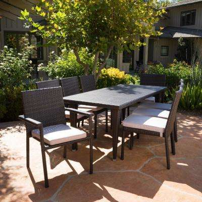 Grady Multi-Brown 9-Piece Wicker Outdoor Dining Set with Beige Cushions