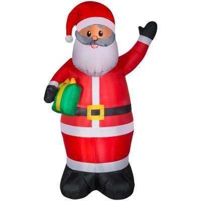 6.50 ft. Pre-Lit Life Size Inflatable African American Santa