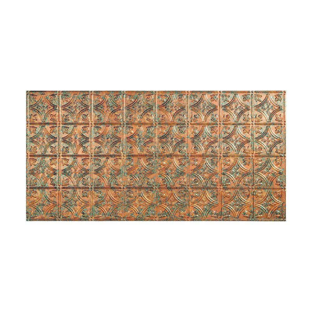 Fasade Traditional 1 - 2 ft. x 4 ft. Glue-up Ceiling Tile in Copper Fantasy