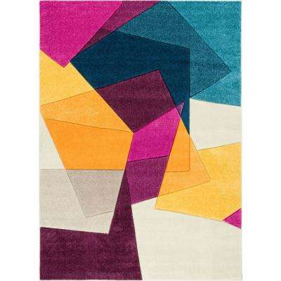 Ruby Bombay Violet 5 ft. x 7 ft. Mid-Century Modern Geometric Area Rug