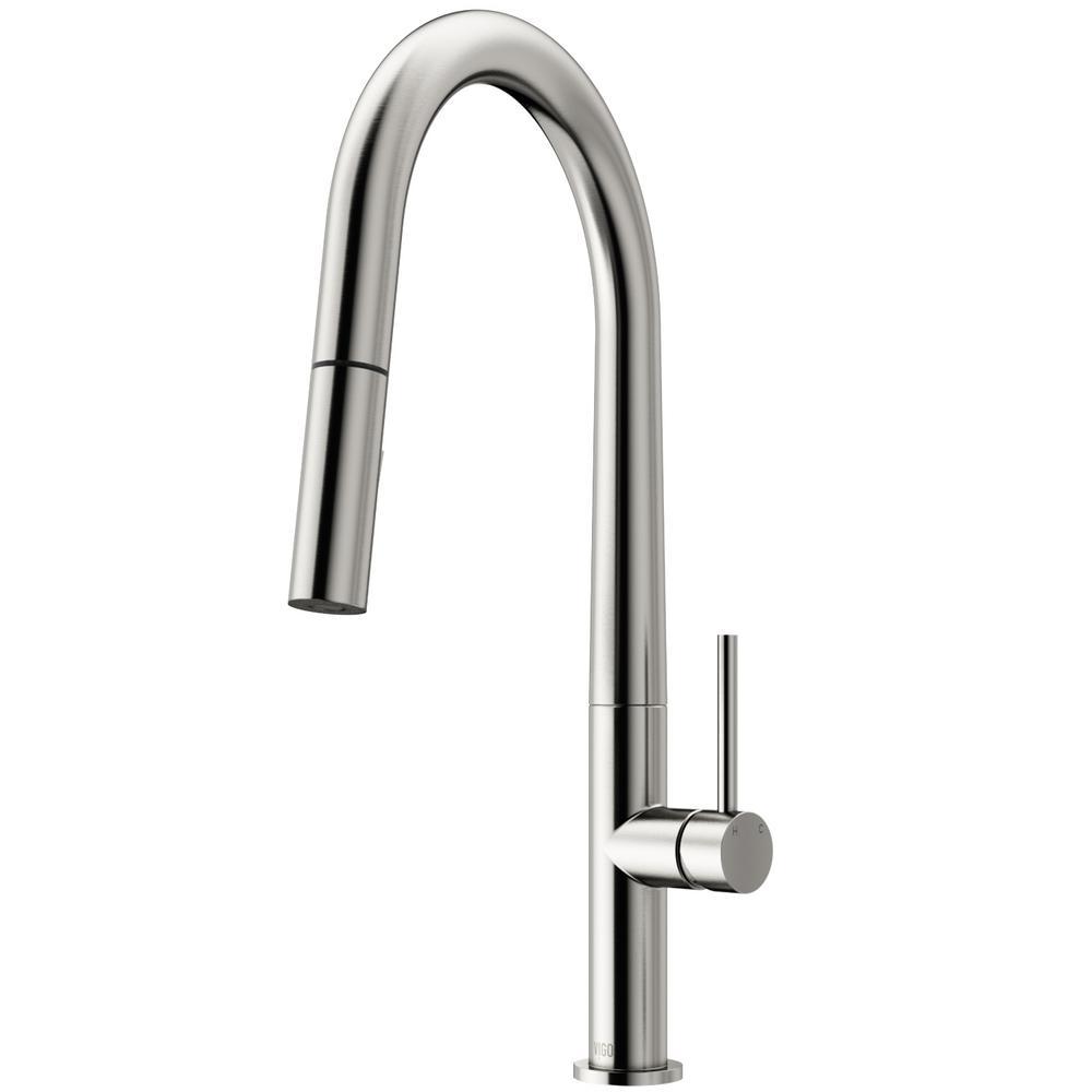 VIGO Greenwich Single Handle Pull Down Sprayer Kitchen Faucet In Stainless  Steel
