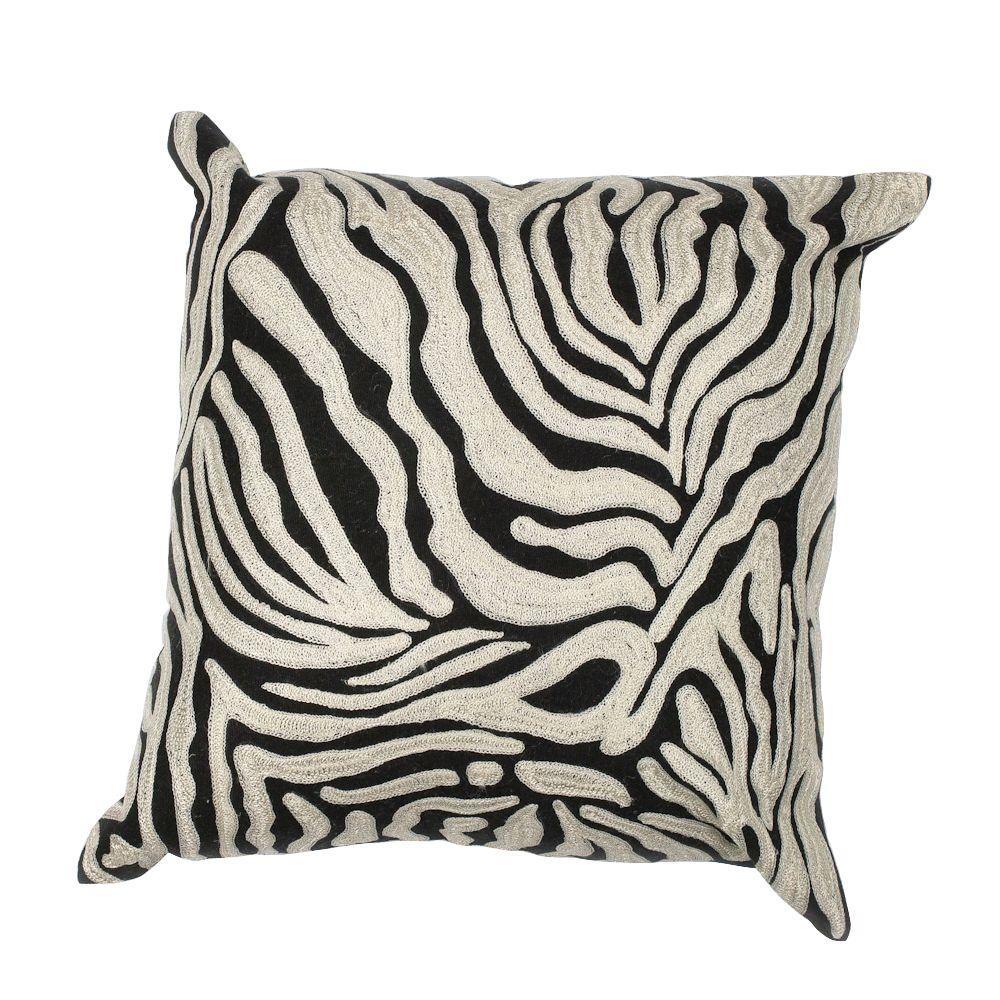 Kas Rugs Abstract Zebra Black White Decorative Pillow Pill11918sq