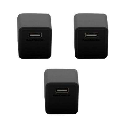 2.4 Amp 1-Port ABS Square AC Charger, Black (3-Pack)