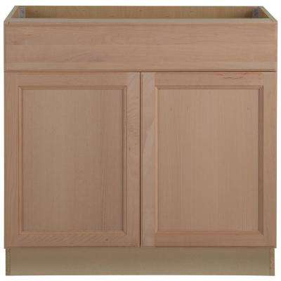 Assembled 36x34.5x24 in. Easthaven Base Cabinet with Drawer in Unfinished German Beech