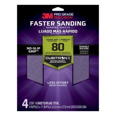 Pro Grade Precision 9 in. x 11 in. 80 Grit Coarse Advanced Sanding Sheets (4-Pack) (Case of 20)