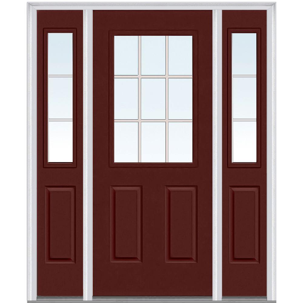 Mmi door 64 in x 80 in grilles between glass right hand for Exterior doors w glass
