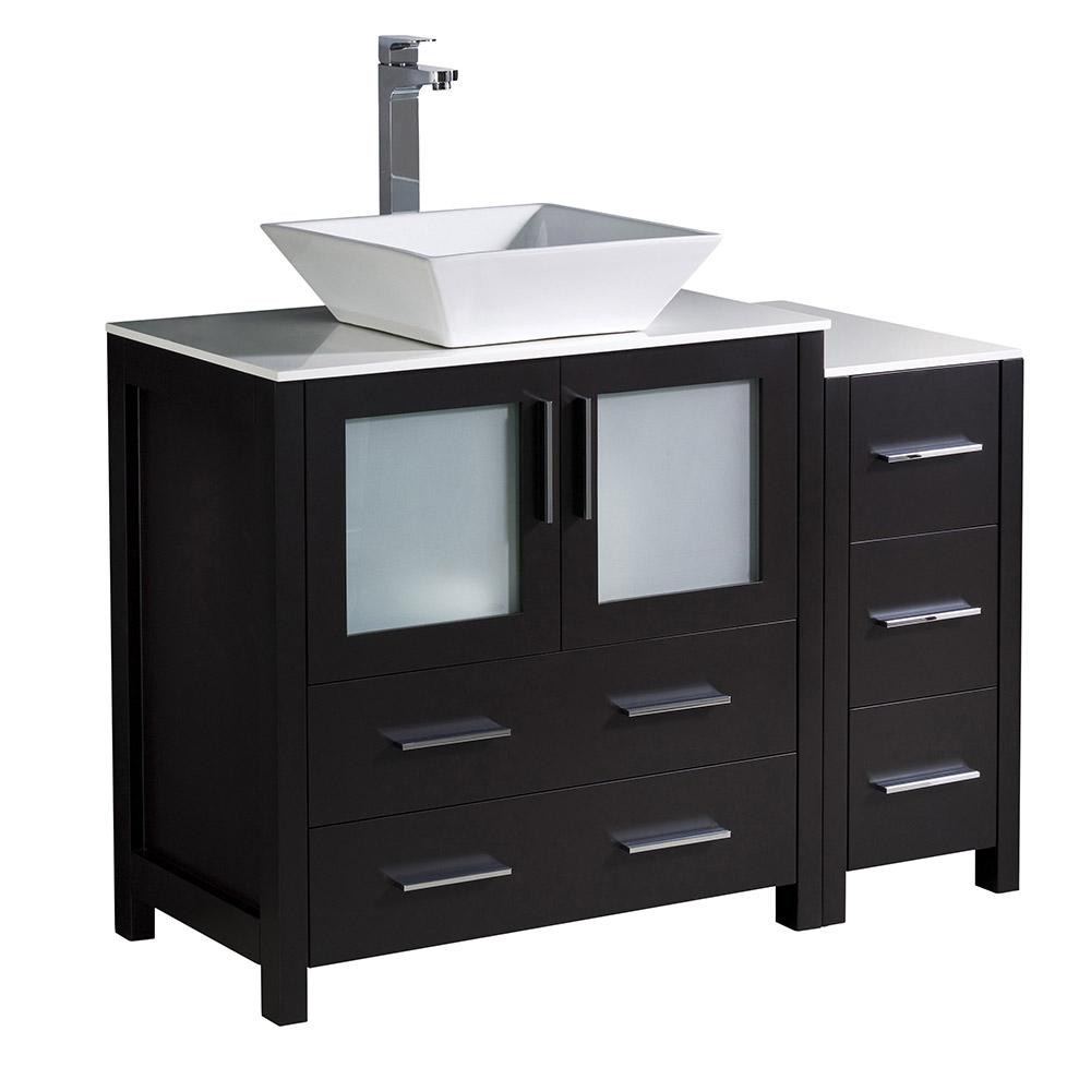 Torino 42 in. Bath Vanity in Espresso with Glass Stone Vanity