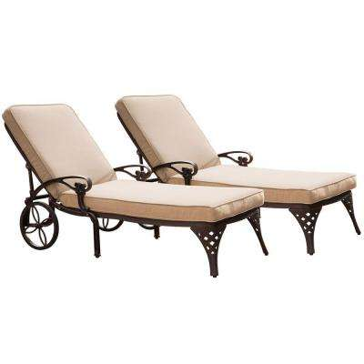 Biscayne Bronze Patio Chaise Lounge with Taupe Cushion (Set of 2)