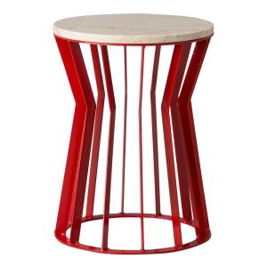 Millie 22 in. Red Metal Indoor/Outdoor  Stool/Side Table with a White Granite Top