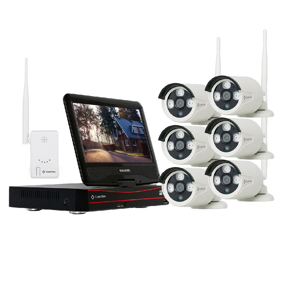 Crystal Vision 8-Channel Wireless 1080p Full HD 2MP 2TB Hard Drive Surveillance System with 10 in. Monitor Weatherproof IR Cameras
