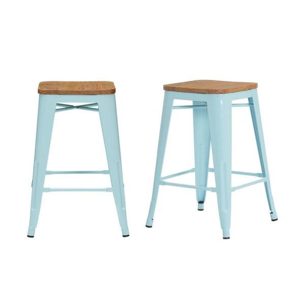Finwick Seafoam Blue Metal Backless Counter Stool with Wood Seat (Set of 2) (16.54 in. W x 23.62 in. H)