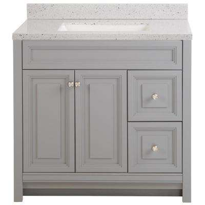 Brinkhill 37 in. W x 22 in. D Bath Vanity in Sterling Gray with Solid Surface Vanity Top in Silver Ash with White Sink