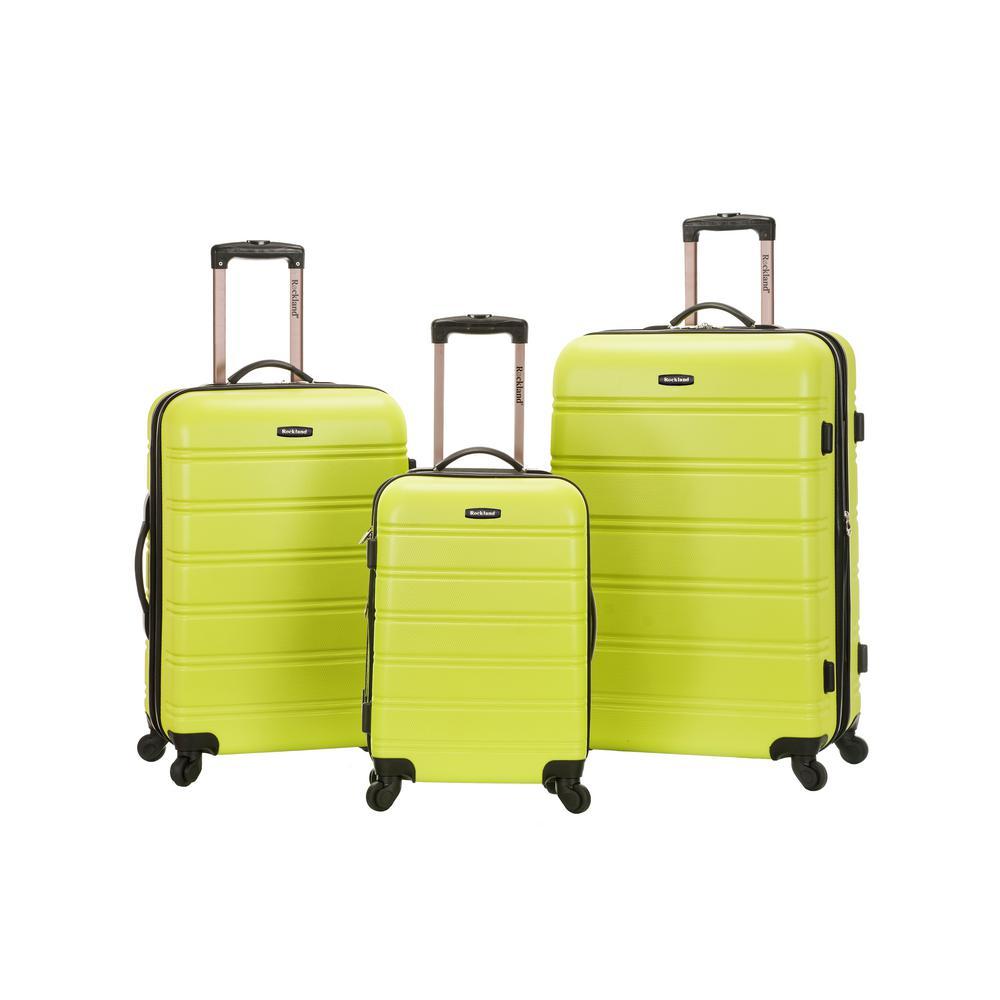 Rockland Melbourne 3-Piece Hardside Spinner Luggage Set, Lime