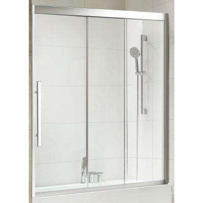 Torrento Premium 59 in. x 58 in. Framed Sliding Shower Door in Chrome with Tempered Clear Glass