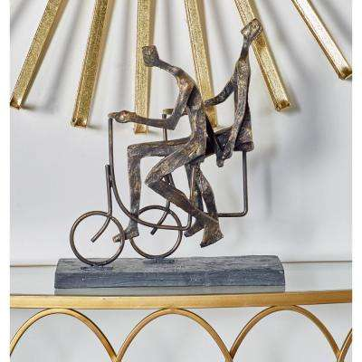 Brass decorative accessories home accents the home depot cycling couple polystone sculpture teraionfo