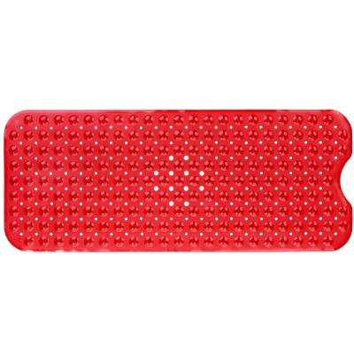 16 in. x 39 in. Extra Long Bath Mat in Red
