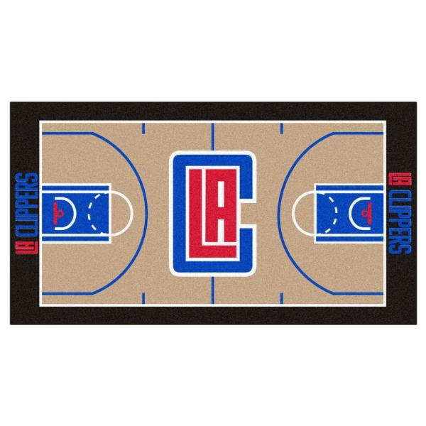 NBA Los Angeles Clippers Tan 3 ft. x 5 ft. Indoor Basketball Court Runner Rug
