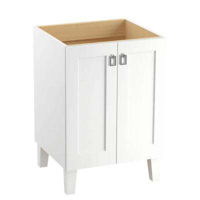 Poplin 24 in. Vanity Cabinet in Linen White with Chrome Hardware