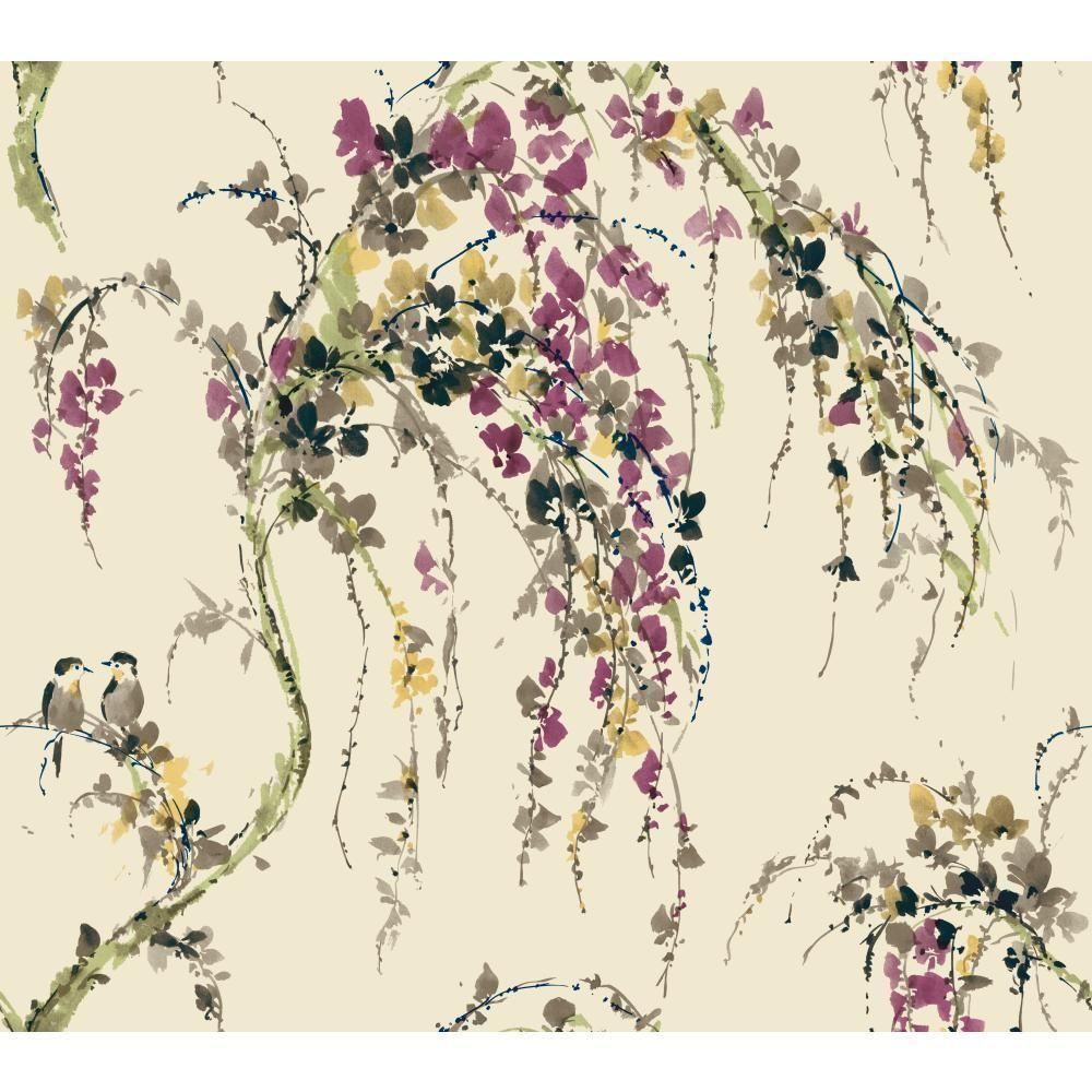 York Wallcoverings Watercolors Lovebirds Wallpaper Wt4556
