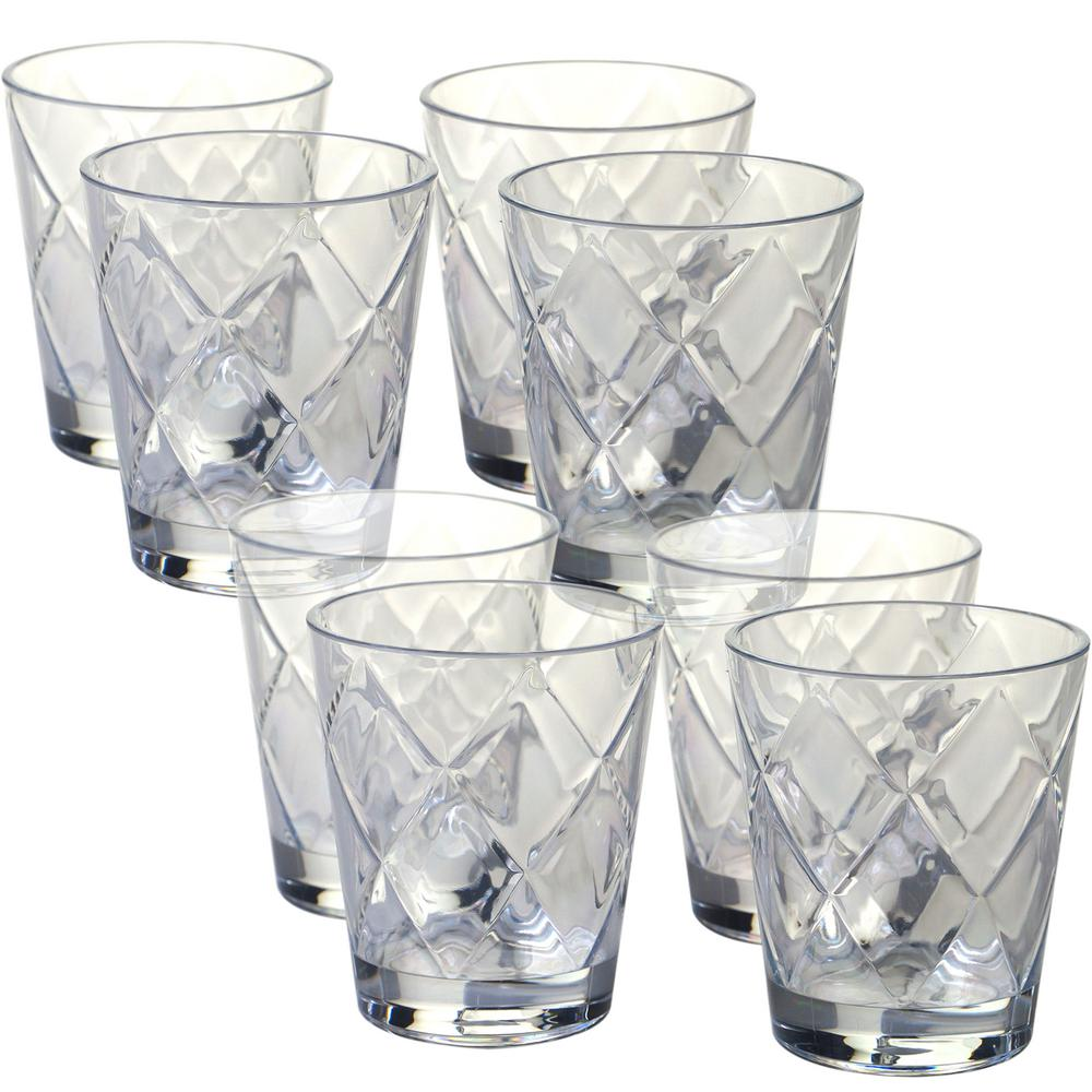 Certified International 15 oz. 8-Piece Clear Old Fashion Glass These clear old fashion glasses with a diamond shaped pattern from Certified International will add a pop of color to your next gathering. Each glass measures 3.75 in. x 4.5 in. Made of heavy weight and durable acrylic, these glasses are perfect for indoor and outdoor use.