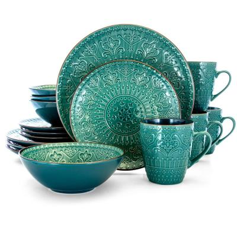 16-Piece Sea Foam Mozaic Boho Sea Green Stoneware Dinnerware Set (Service for 4)