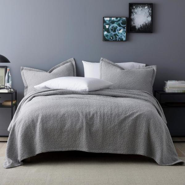 The Company Store Winfield Gray Solid Cotton King Coverlet
