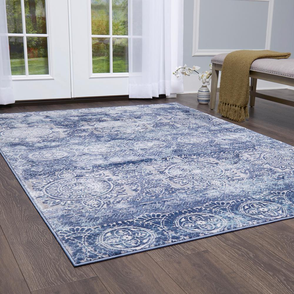 Bazaar Crystal Blue 7 Ft 10 In X 2 Indoor Area Rug