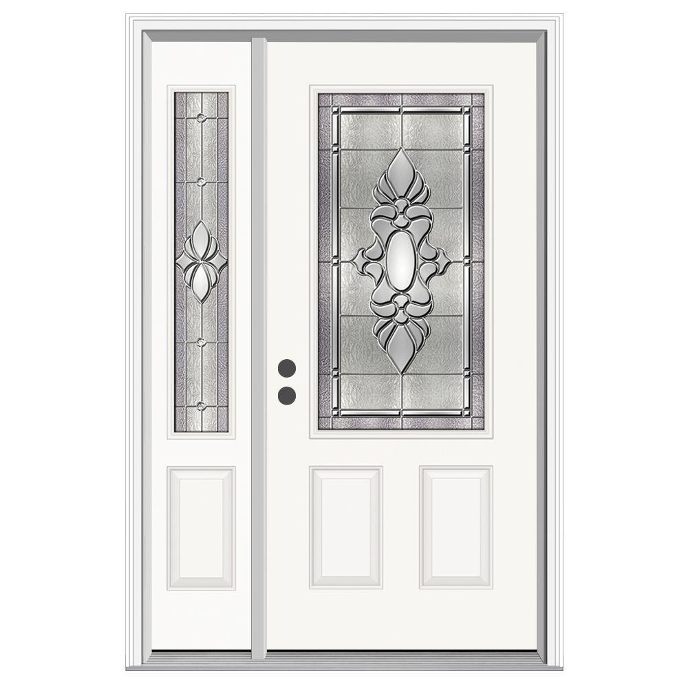 52 in. x 80 in. 3/4 Lite Langford Primed Steel Prehung Right-Hand Inswing Front Door with Left-Hand Sidelite