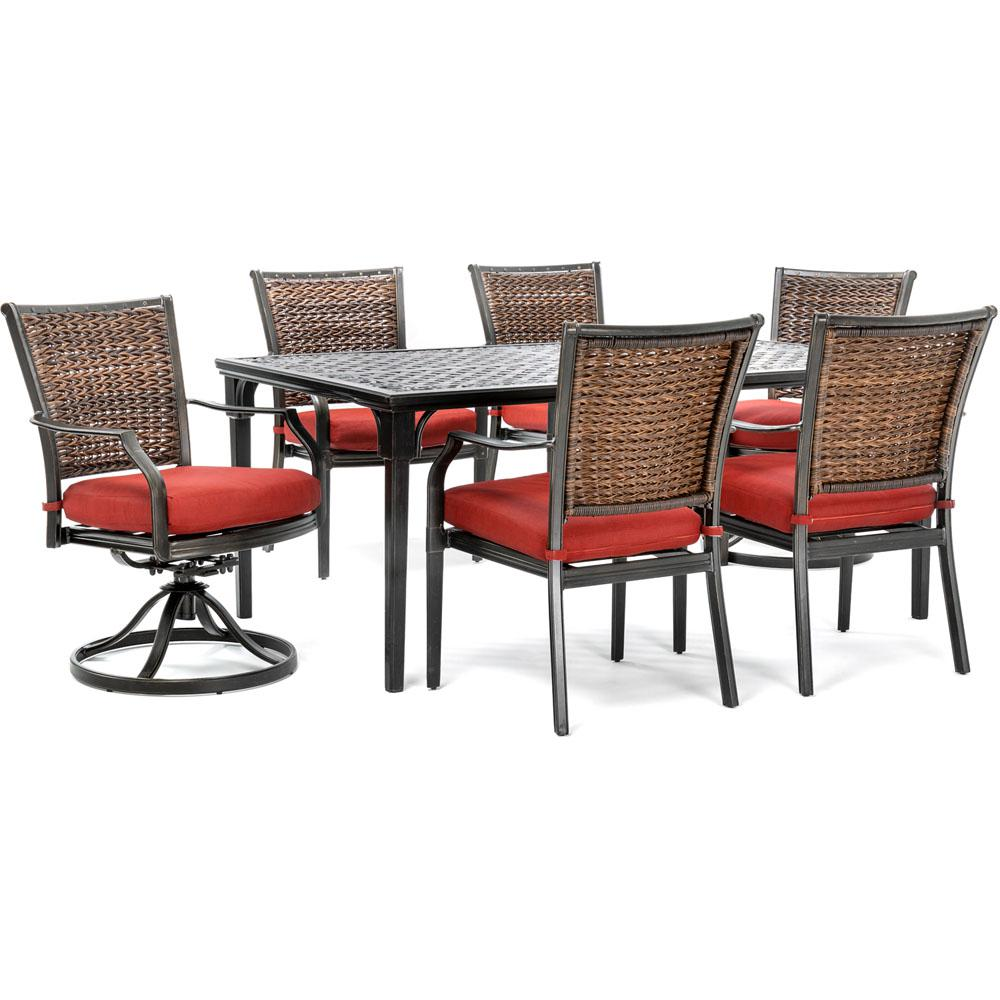 Breckenridge 4 Piece Patio Furniture Set Two Swivel: Hanover Mercer 7-Piece Aluminum Outdoor Dining Set With