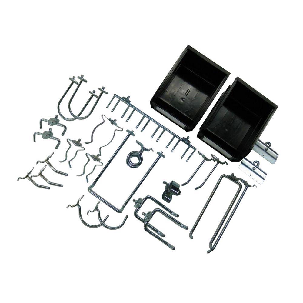 26-Piece Zinc Plated Steel Hook and Bin Assortment for DuraBoard (24-Assortment Hooks and 2-Bins)