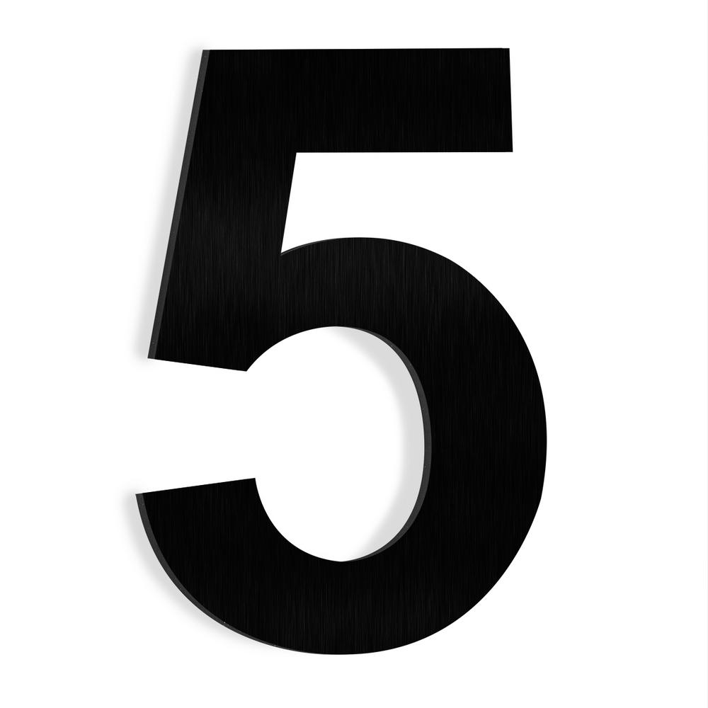 Barton 6 In Black Stainless Steel Floating House Number 5