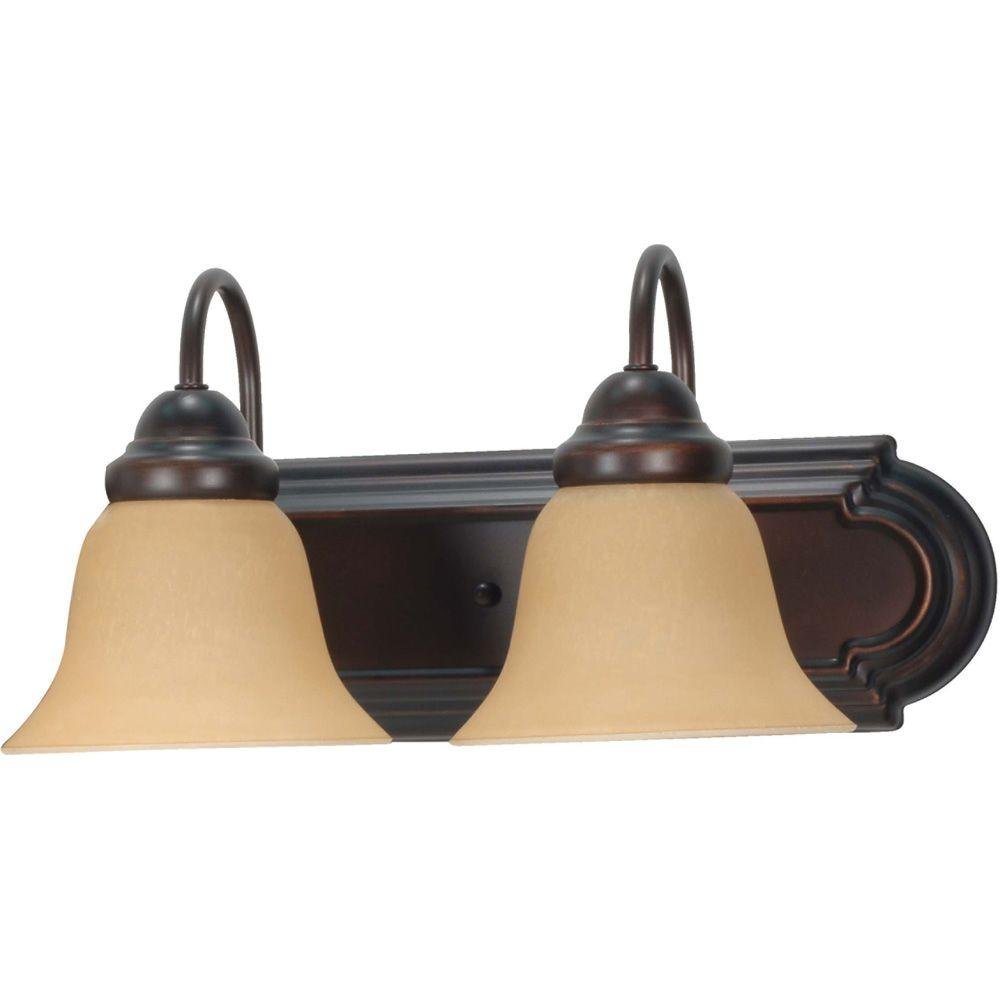 2-Light Mahogany Bronze Vanity Light with Champagne Linen Washed Glass